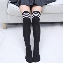 Гольфы черные выше колена с белыми полосками