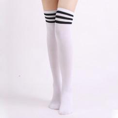 Гольфы белые выше колена с черными полосками