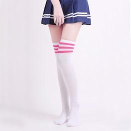 Гольфы белые за колено розовая полоска