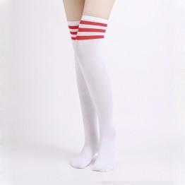 Гольфы выше колен белые красная полоска