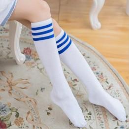 Гольфы белые до колена с синими полосками