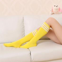 Гетры желтые до колена с белыми полосками