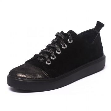Кеды черные замшевые 803-03